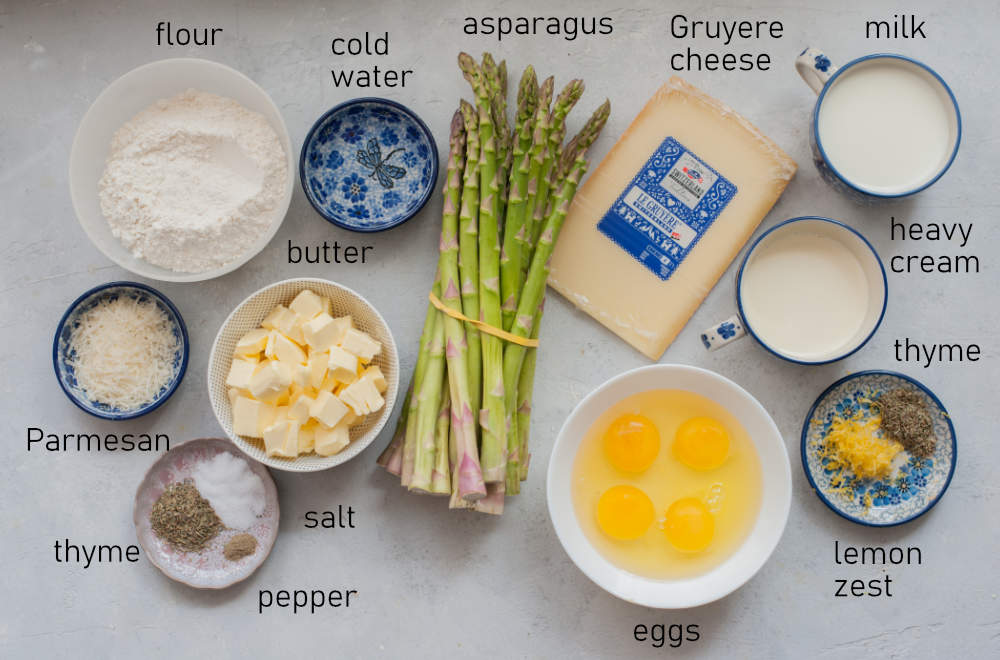 Labeled ingredients for asparagus quiche.