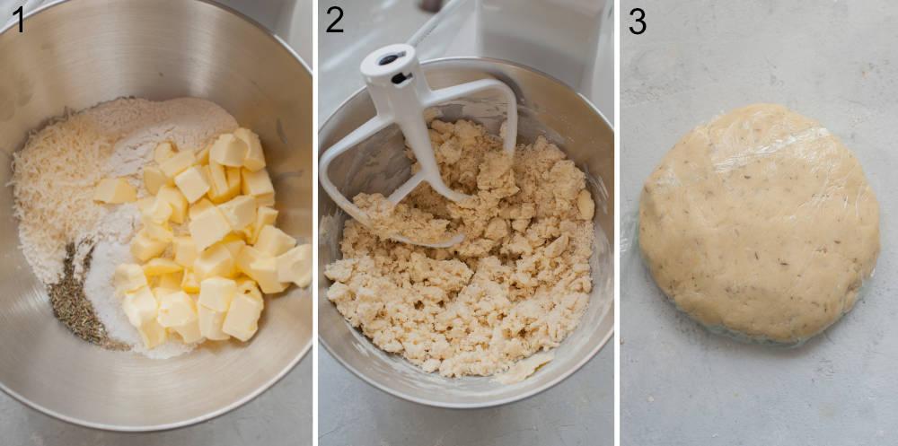 Kolaż z 3 zdjęć pokazujący etapy przygotowania ciasta kruchego.