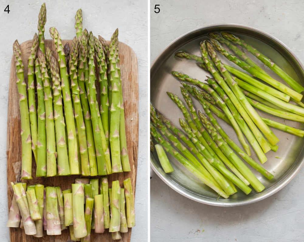 Szparagi z obciętymi końcówkami na desce do krojenia. Gotujące się szparagi na patelni.