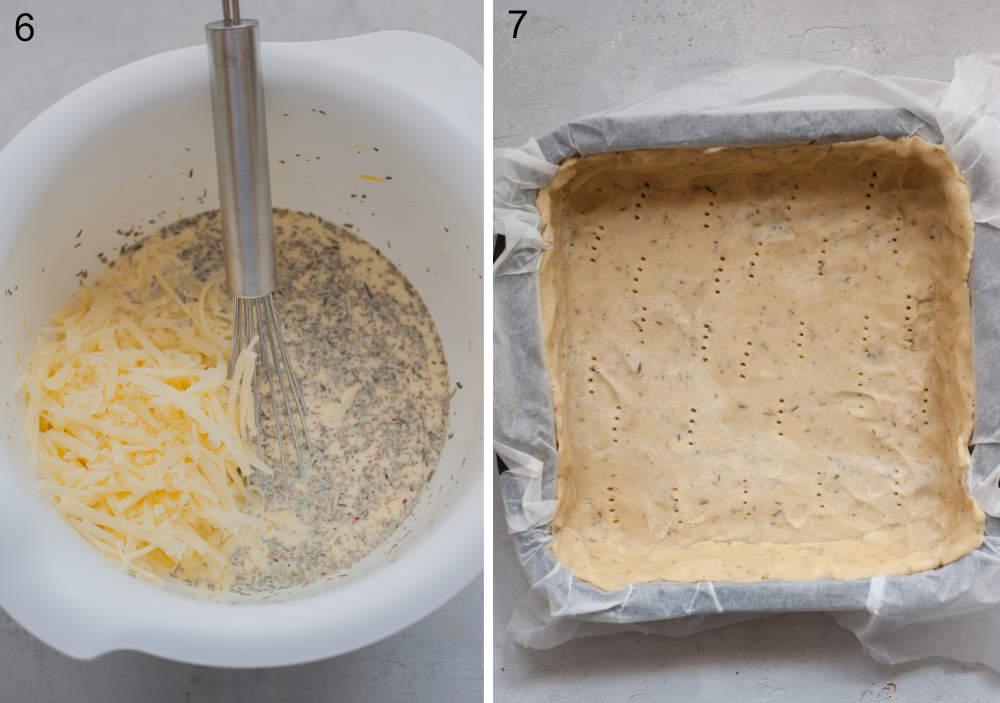 Nadzienie do tarty w białej misce. Ciasto na tartę w foremce do pieczenia.