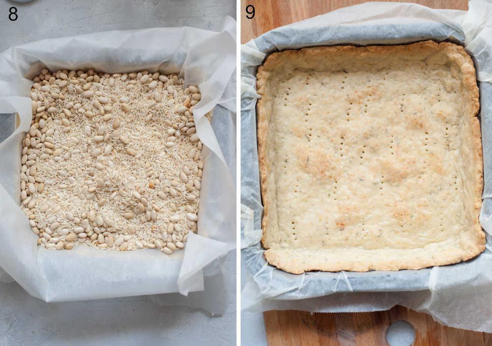 Foremka do pieczenia wyłożona papierem do pieczenia i suchym ryżem i fasolą. Upieczone ciasto na tartę w foremce do pieczenia.