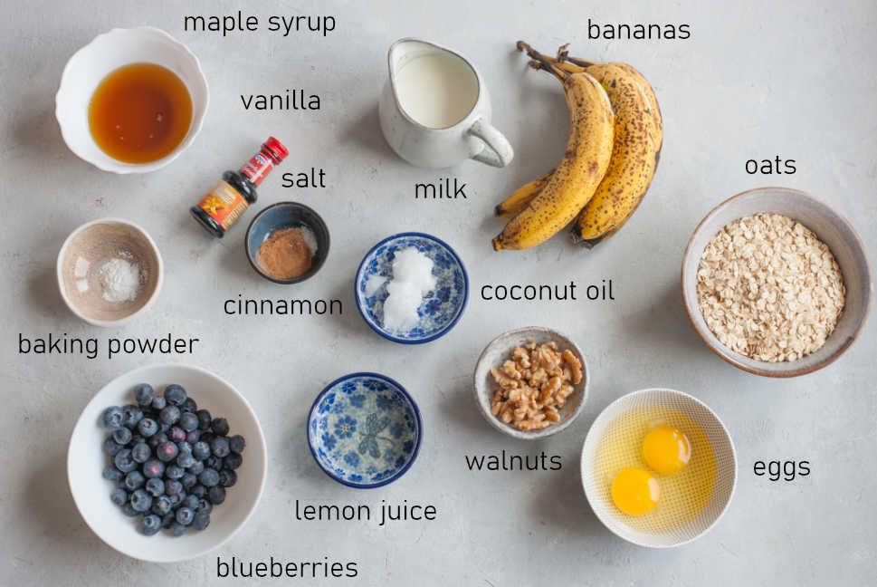 Labeled ingredients for banana blueberry baked oatmeal.