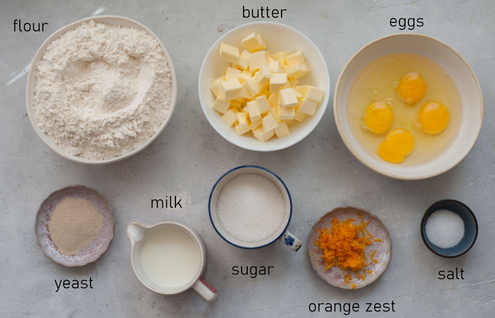 Labeled ingredients for brioche dough.