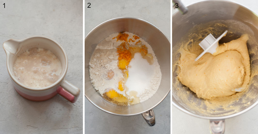 Activated active dry yeast in a cup. Brioche ingredients in a bowl. Brioche dough in a bowl.