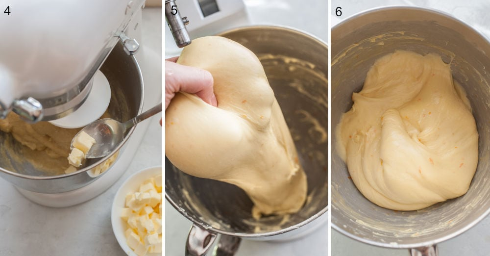 Butter is being added to a brioche dough. Brioche dough held in a hand. Brioche dough in a bowl.