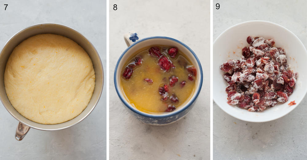 Risen dough in a bowl. Cranberries soaked in orange juice in a cup. Cranberries tossed with flour in a white bowl.
