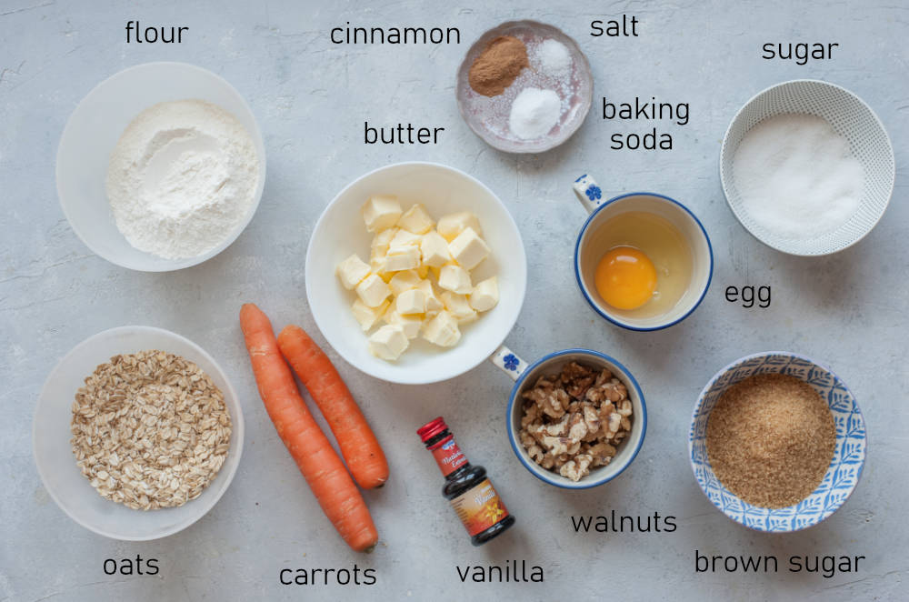 Labeled ingredients for carrot cake cookies.