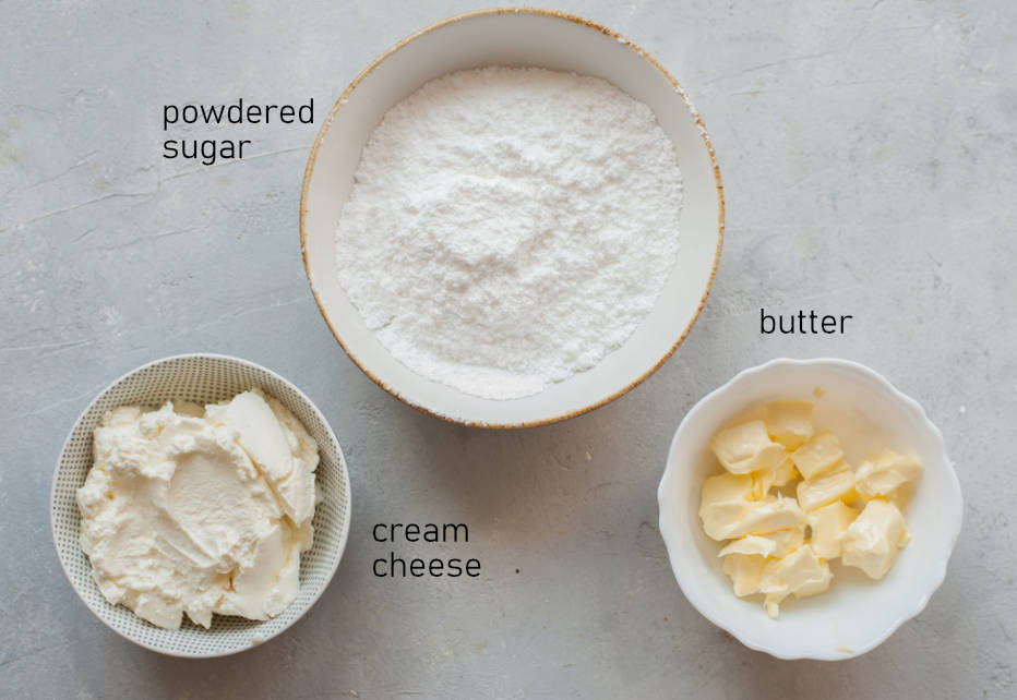 Labeled ingredients for cream cheese frosting.