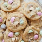Easter candy cookies on a white plate.
