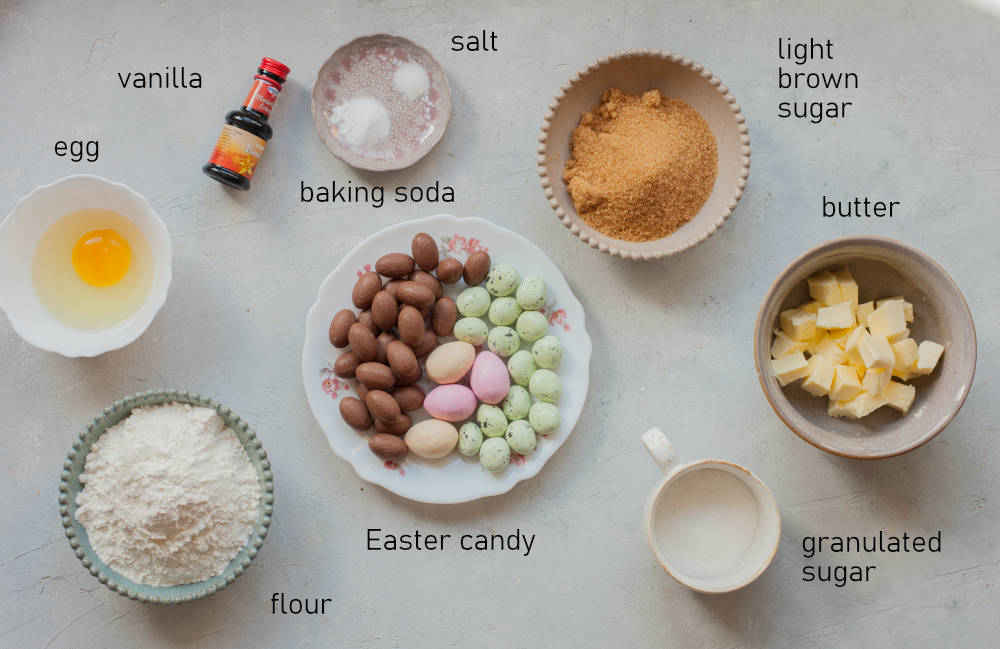 Labeled ingredients for Easter candy cookies.