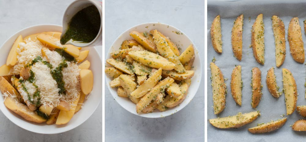 Seasoning of Lemon, parmesan, parsley potato wedges and lining them on a baking sheet.