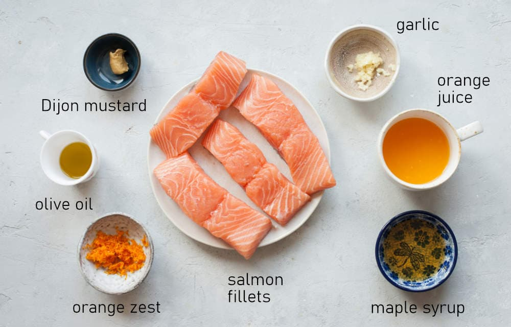 Labeled ingredients for orange maple salmon.