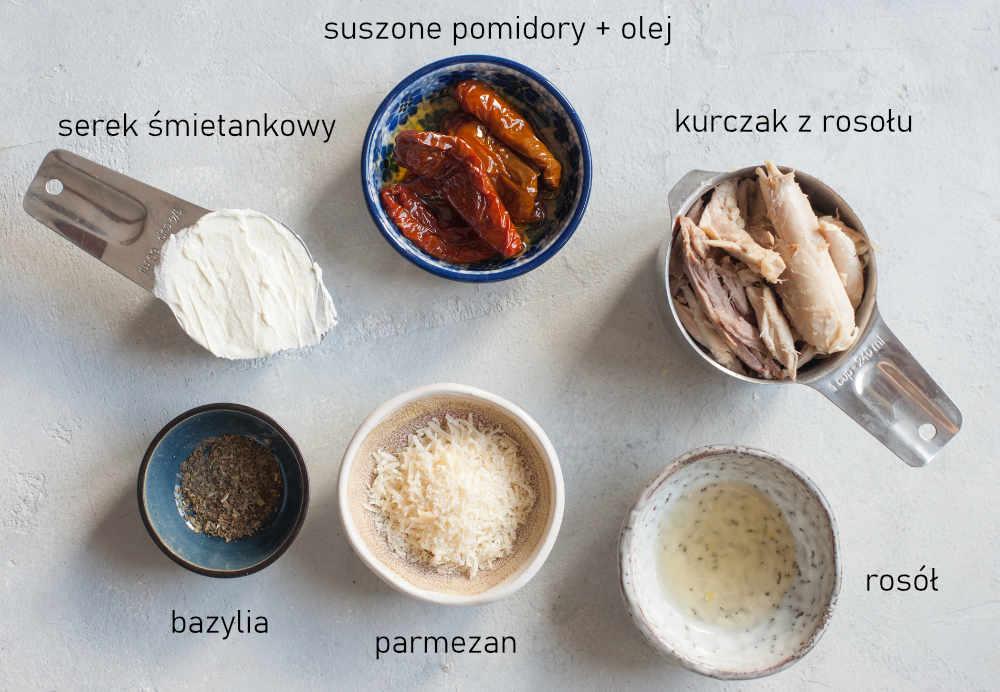 Składniki potrzebne do przygotowania pasty z kurczaka.