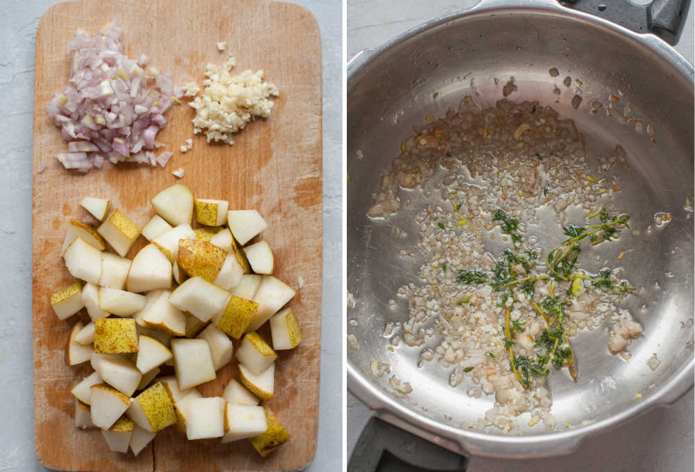 Chopped ingredients on a wooden board. Sauteed onion with thyme in a pot.