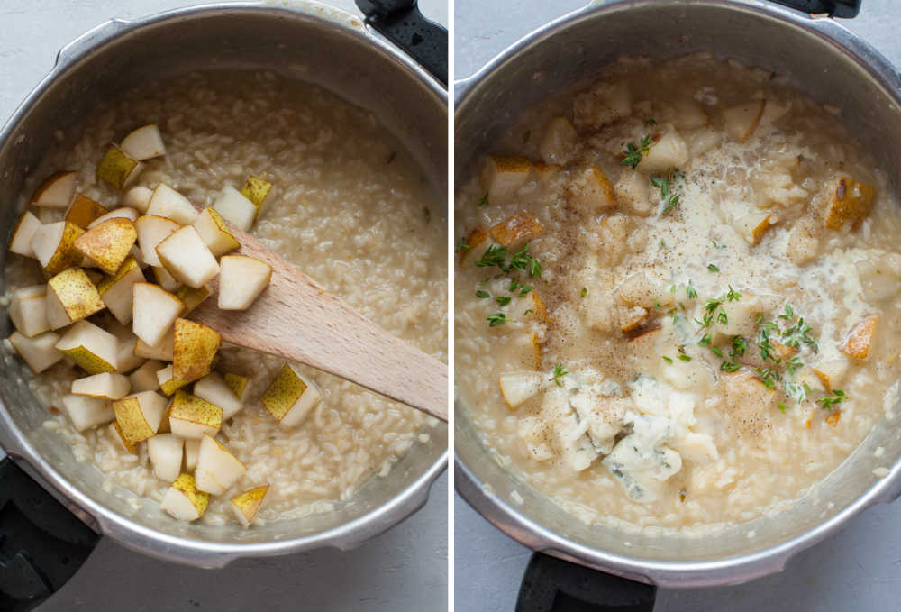Pear is being added to the pot with risotto. Pear risotto in a pot.