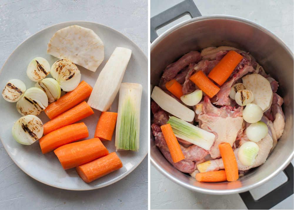 Pokrojone i oczyszczone warzywa. Warzywa i mieso w garnku.