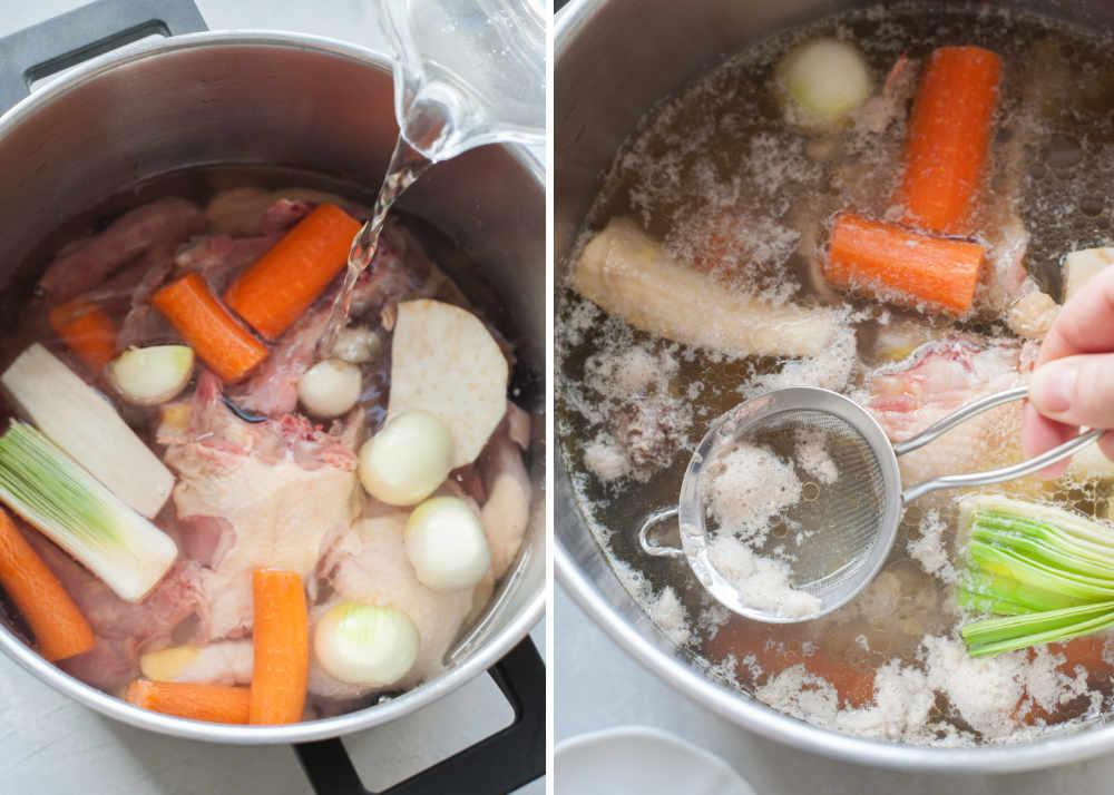 Woda jest wlewana  do garnka z mięsem i warzywami. Szumowiny zbierane sitkiem z powierzchni rosołu.