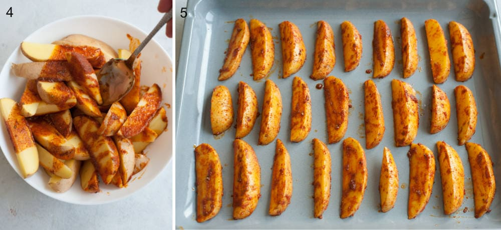 Potato wedges lined up on baking sheet.