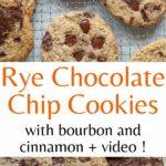 Rye chocolate chip cookies pinnable image.
