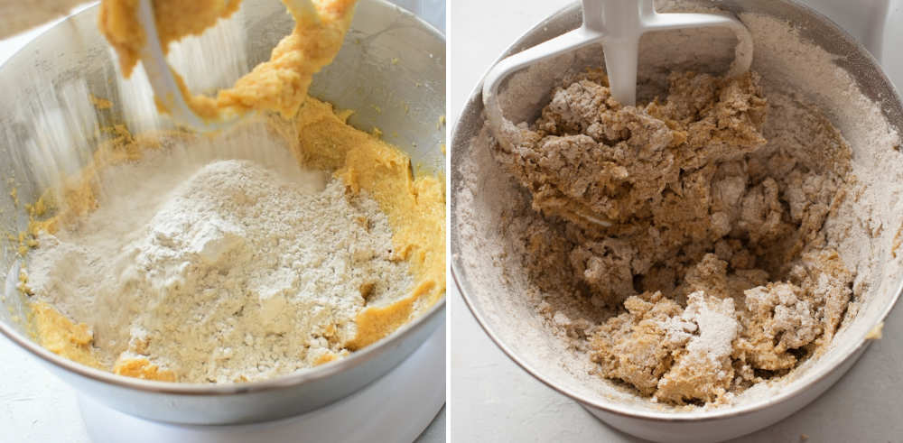 Flour is being added to a bowl with cookie batter. Cookie batter in a bowl.