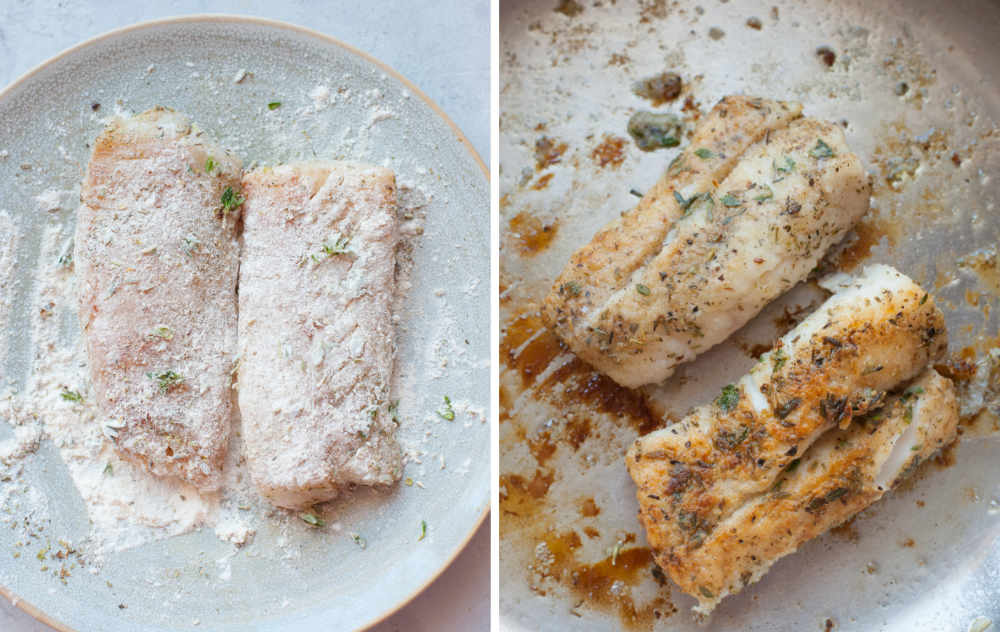 Fish fillets dredged in flour. Fish fillets are being pan-fried.
