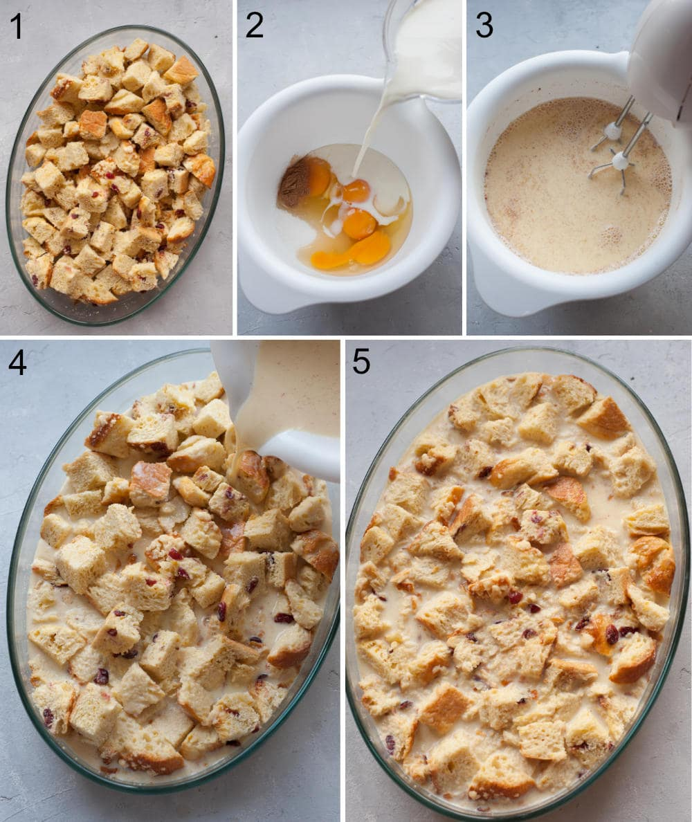 A collage of 5 photos showing preparation steps of brioche bread pudding.