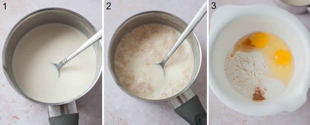 Milk in a pot. Milk with yeast in a pot. Pancake batter ingredients in a white bowl.