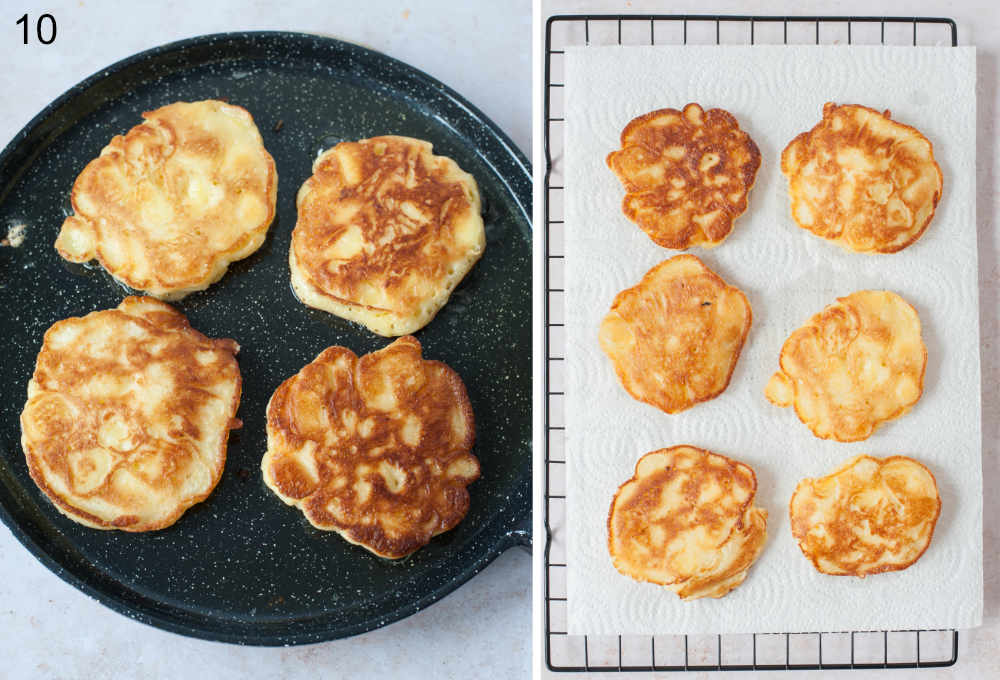 Apple pancakes are being fried in a pan. Apple pancakes on a paper towel-lined wire rack.