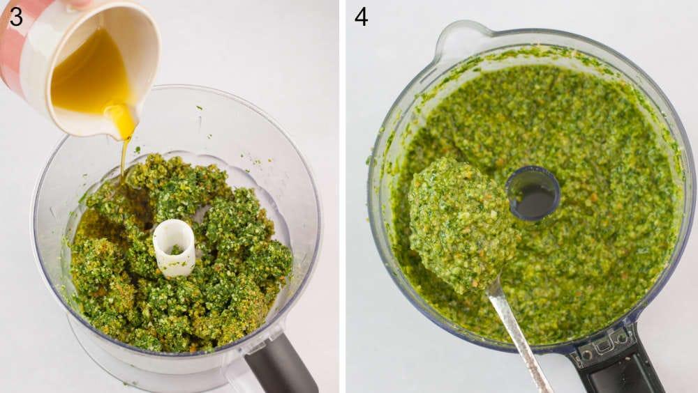 Oliwa dodawana do misy miksera. Pesto z rukoli nabierane na łyżkę w misie malaksera.