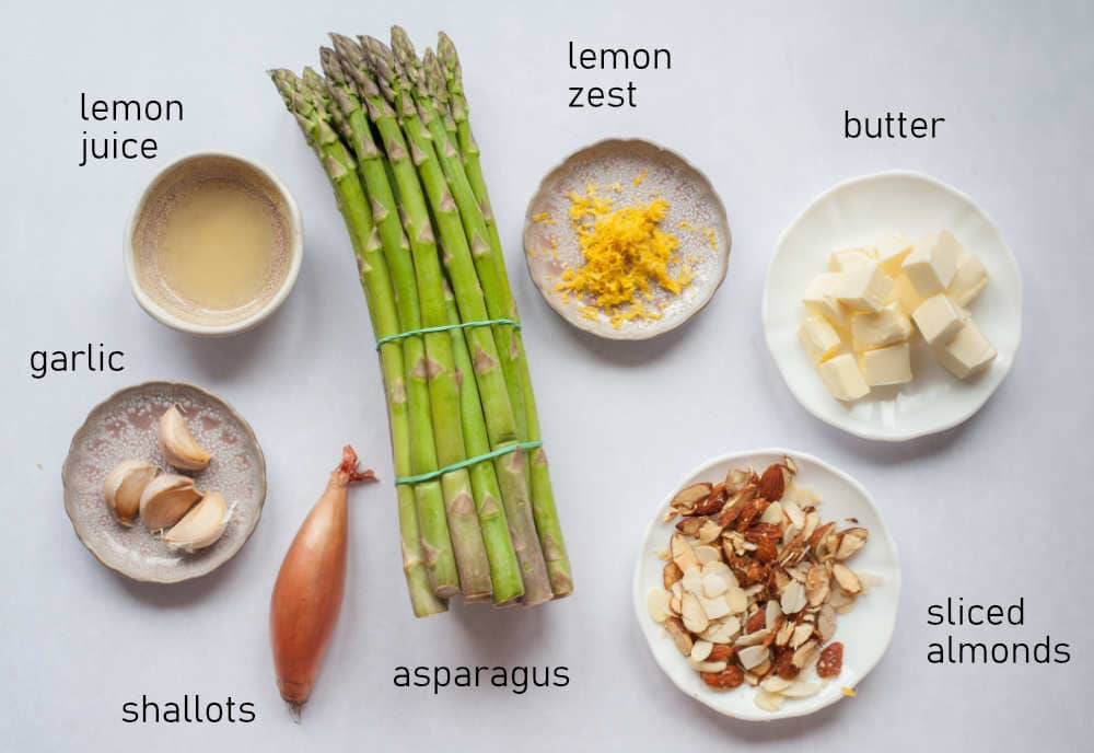 Labeled ingredients for asparagus almondine.