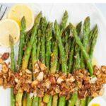 Asparagus almondine pinnable image.