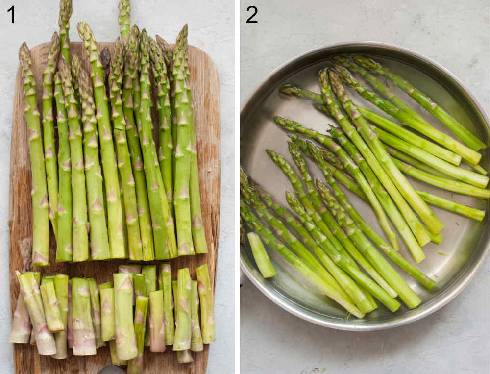 Asparagus with cut off ends on a chopping board. Asparagus is being cooked in a pan.