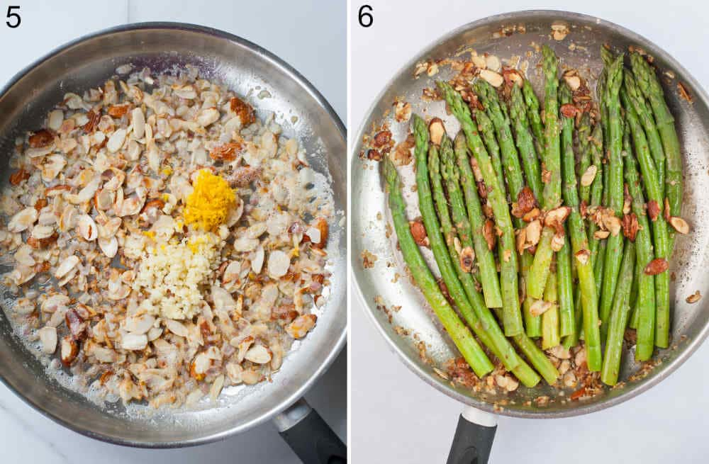 Lemon zest and garlic added to almonds and shallots in a pan. Almond topping with asparagus in a pan.
