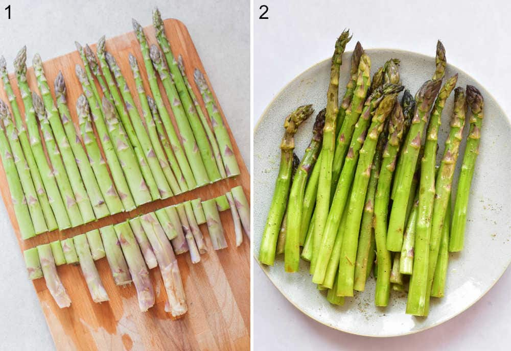 Asparagus on a chopping board with woody ends cut off. Asparagus on a plate tosses with olive oil and lemon juice.