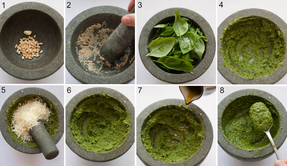 A collage of 8 photos showing preparation steps of basil pesto using a pestle and mortar.