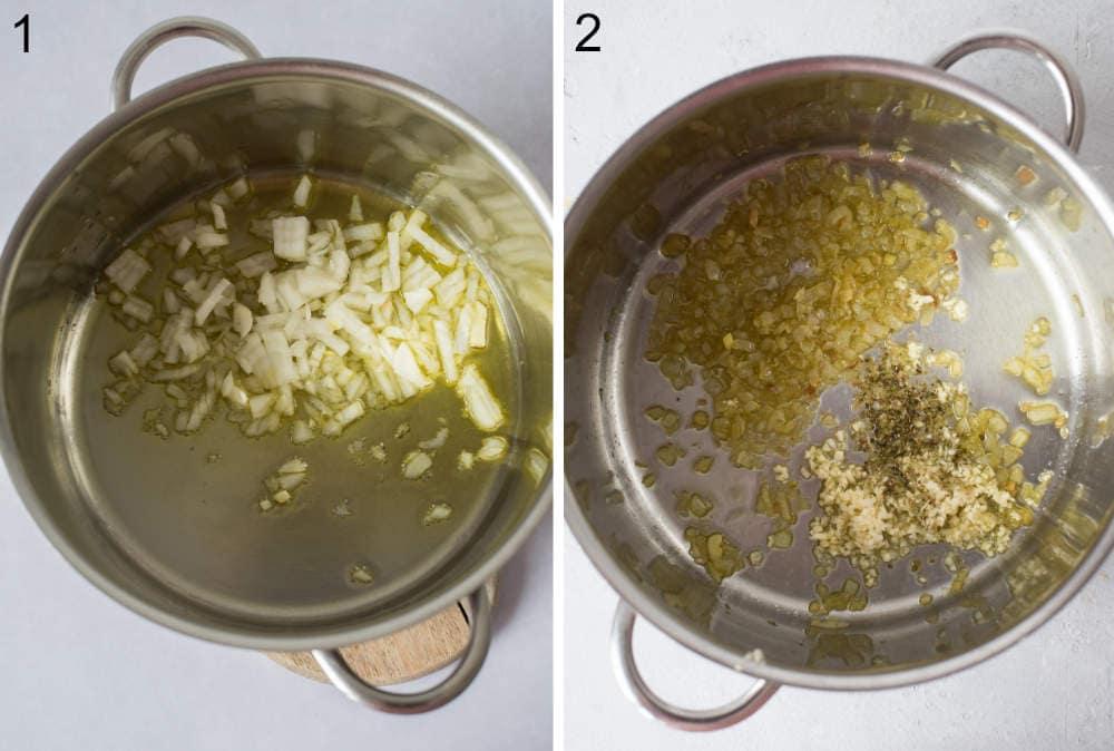 Cebula i oliwa w garnku. Podsmażona oliwa, czosnek i oregano w garnku.