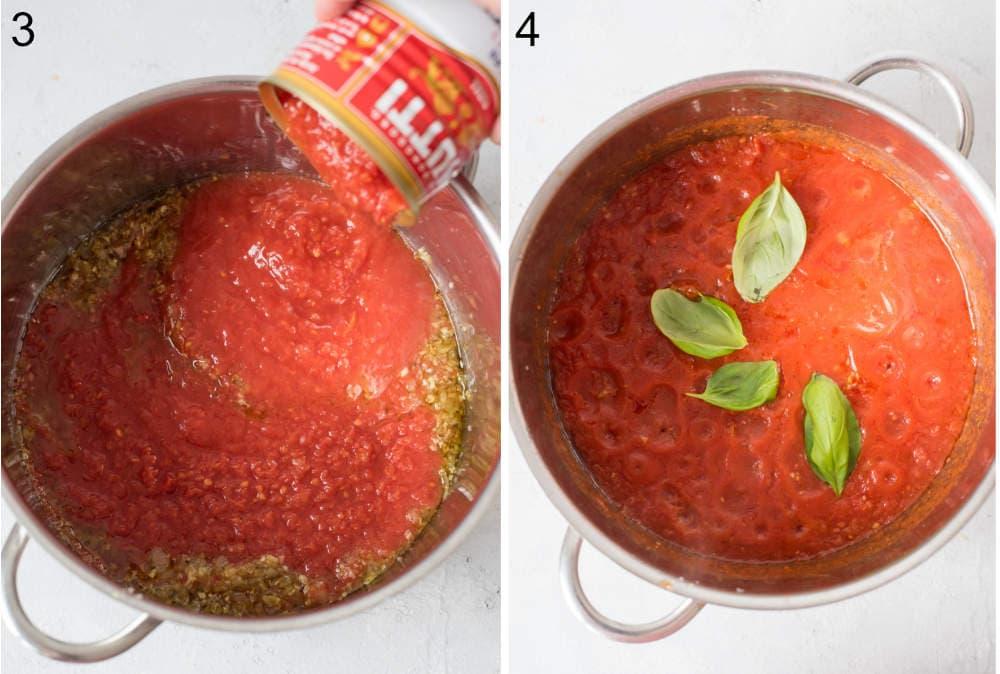 Pomidory w puszce dodawane do garnka. Liście bazylii i sos pomidorowy w garnku.
