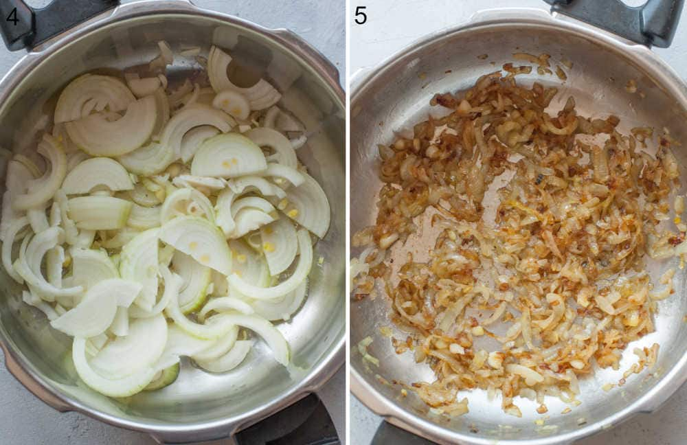 Sliced onions in a pan. Caramelized onions in a pan.