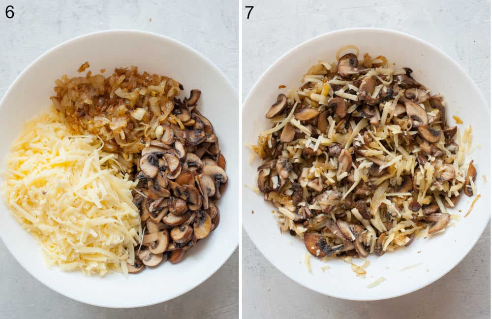 Caramelized onions, sauteed mushrooms and shredded cheese in a white bowl. Mushroom quesadilla filling in a white bowl.