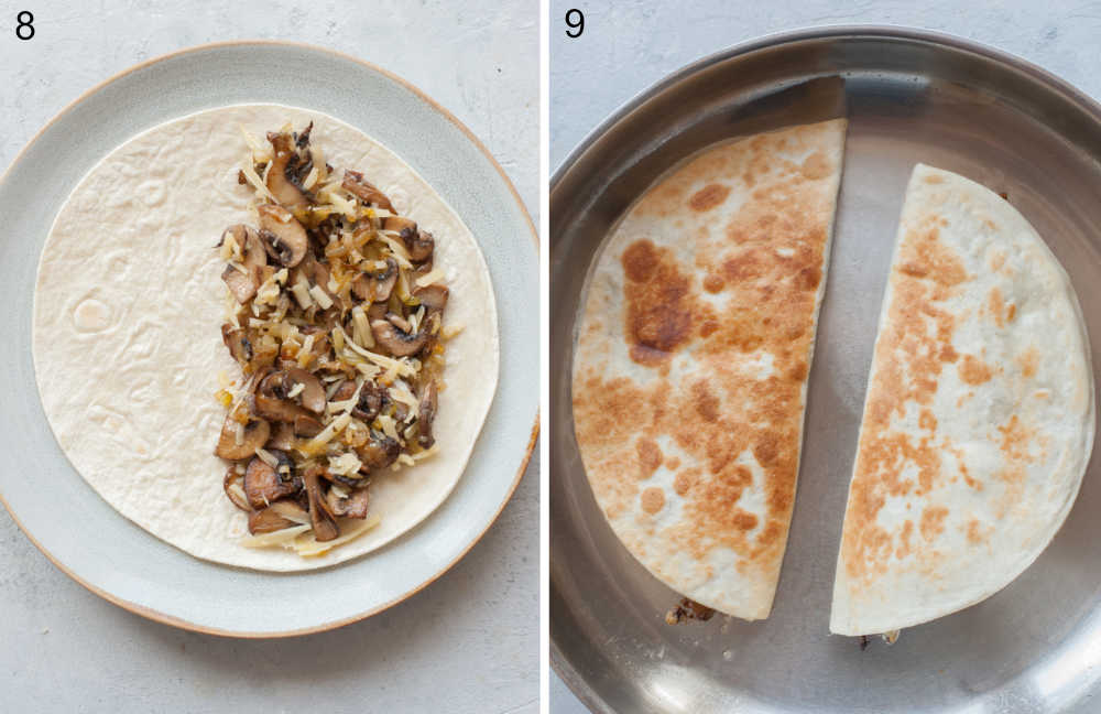 Tortilla on a plate topped with mushroom filling. Two quesadillas are being cooked in a pan.