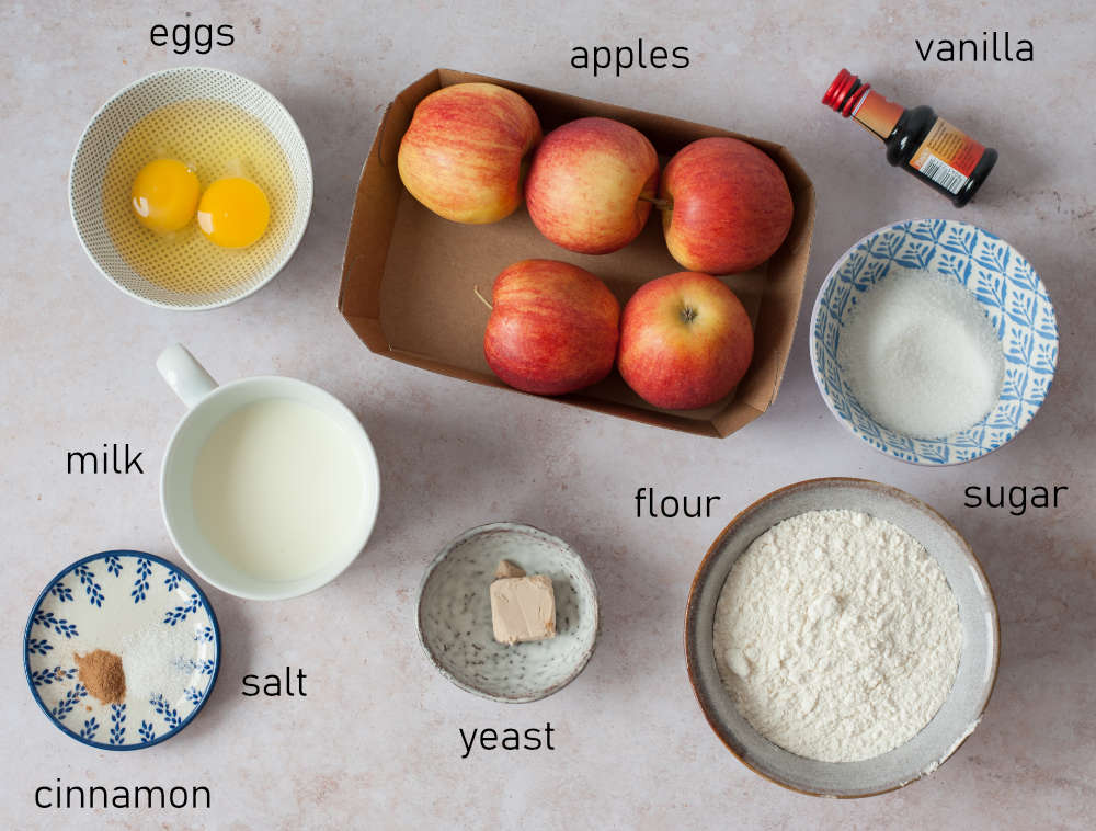 Labeled ingredients for Polish apple pancakes.