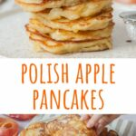 Polish apple pancakes pinnable image.
