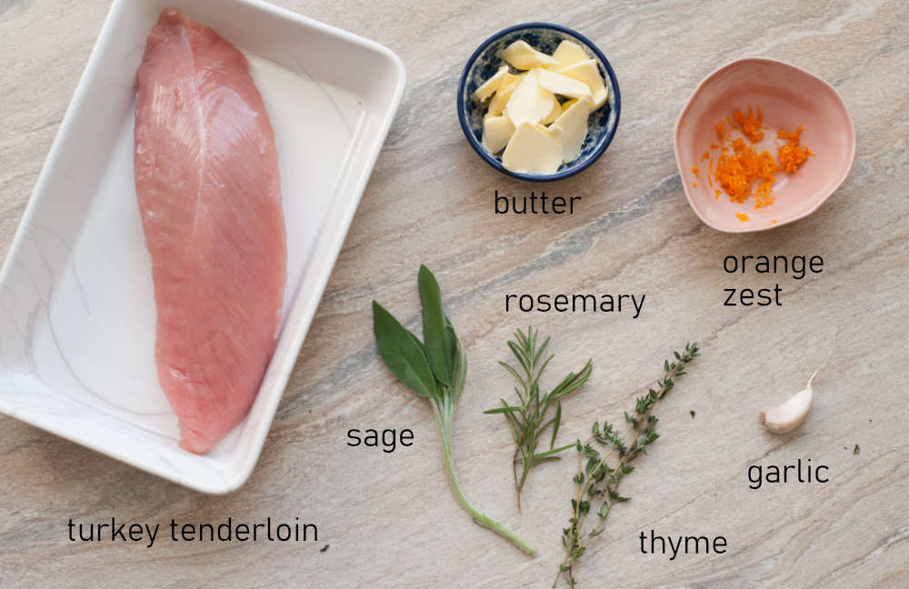 Labeled ingredients for baked turkey tenderloin.