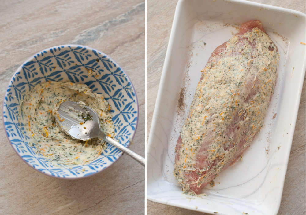 Herb garlic butter in a small bowl. Turkey tenderloin with herb butter in a white baking dish.