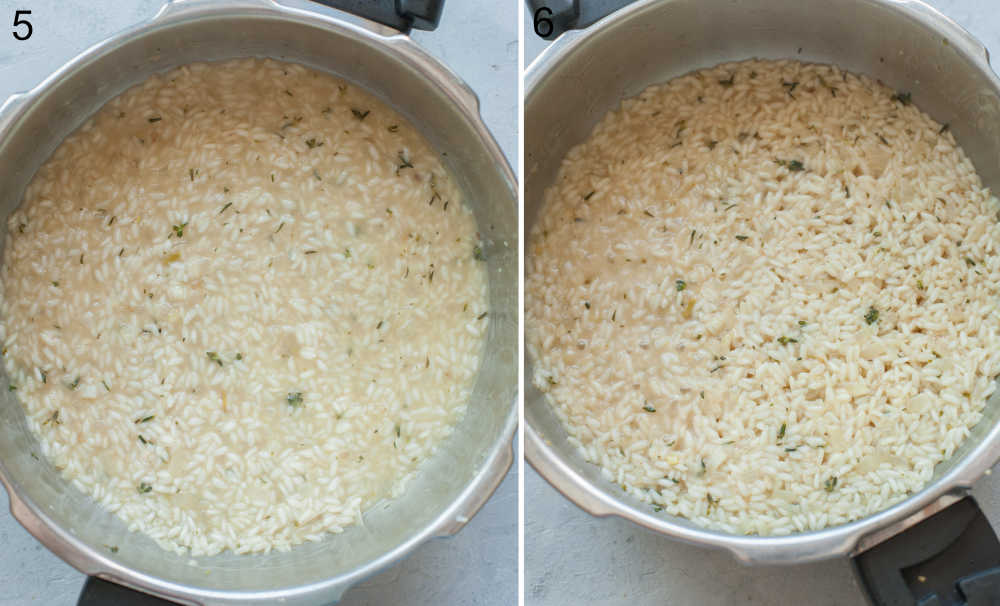 Risotto is being cooked in a pot.