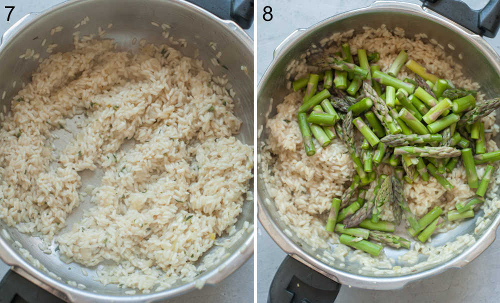 Risotto is being cooked in a pot. Asparagus added to a pot with risotto.