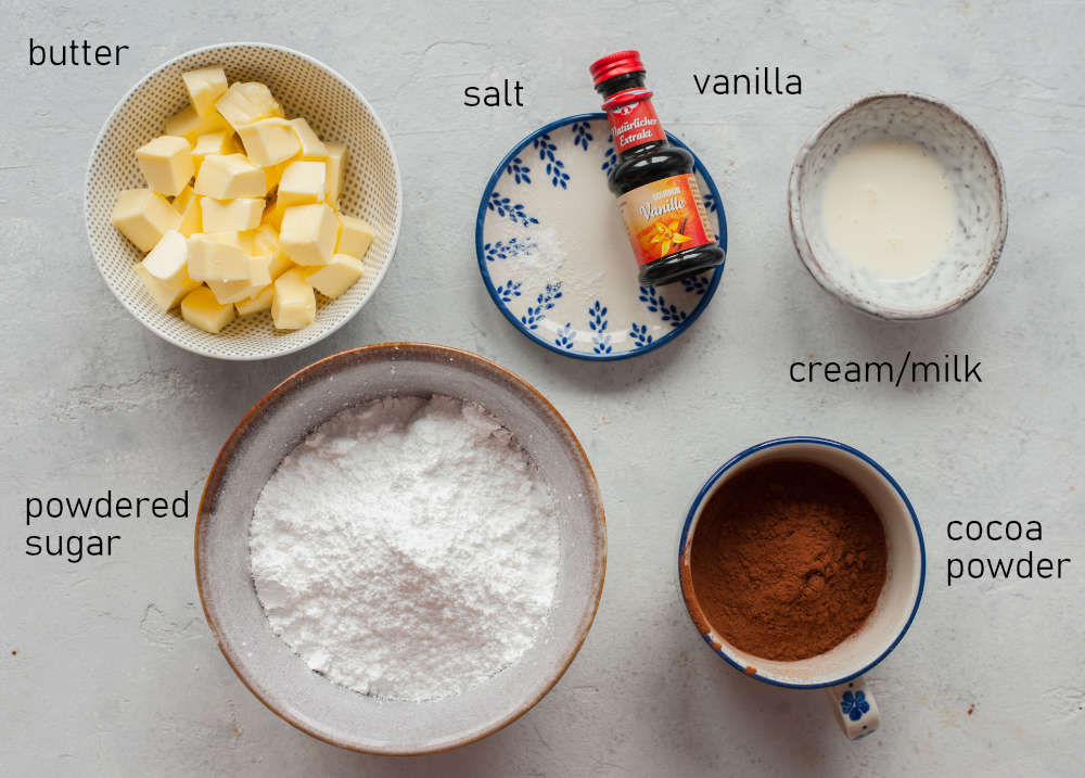 Labeled ingredients for buttercream chocolate frosting.