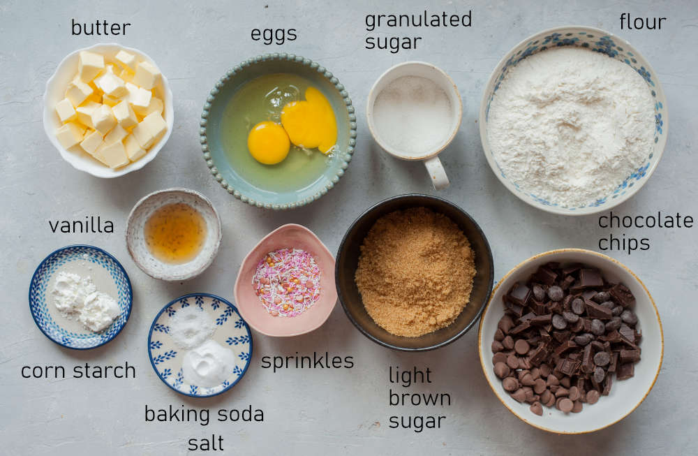 Labeled ingredients for chocolate chip cookie cake.