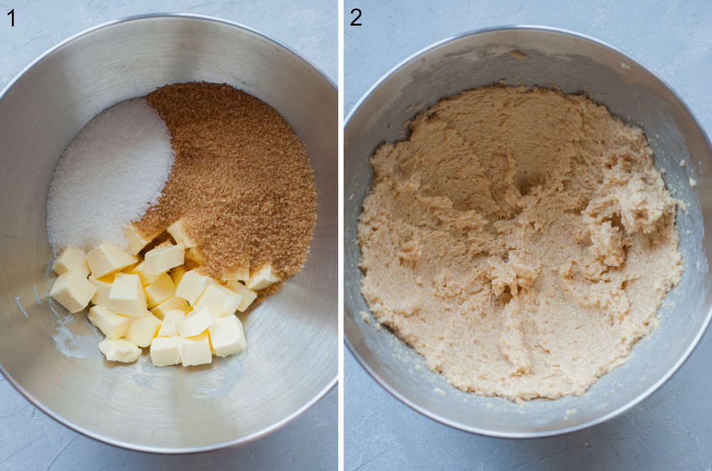 Sugar and butter in a bowl. Mixer sugar and butter in a bowl.