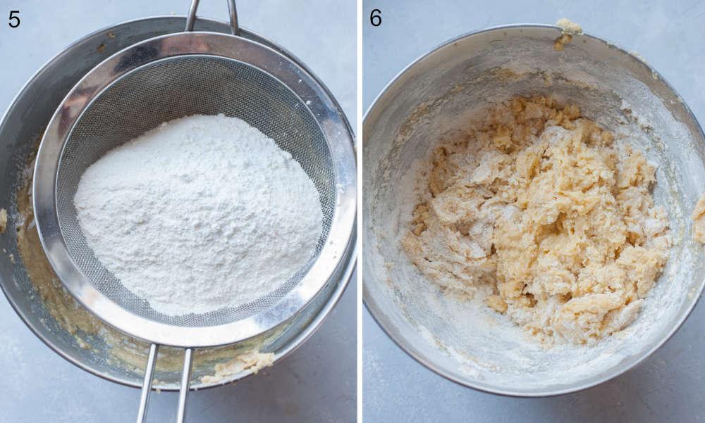Mąka przesiewana do miski. Ciasto w misce.